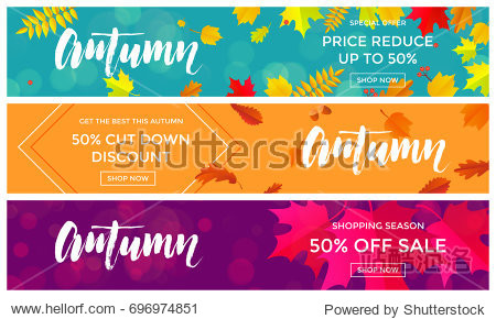 Autumn sale text banners for September shopping promo or 50% autumnal shop discount. Vector maple and oak acorn leaf foliage  mushroom and berry for discount design of leaflet or web banner.