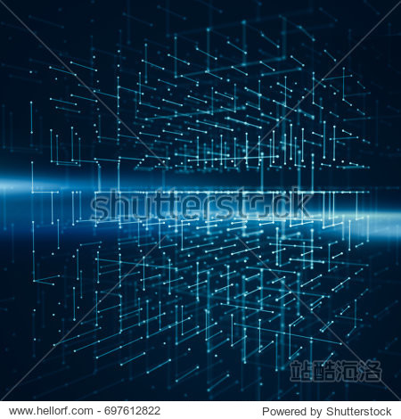 Abstract background with wireframe of transparency cube. Polygonal 3d rendering illustration