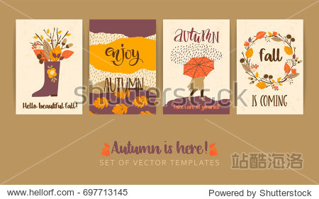 Set of autumn templates. Vector design for card  poster  flyer  web and other users. Trendy hand drawn textures.