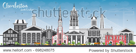 Charleston South Carolina Skyline with Gray Buildings and Blue Sky. Business Travel and Tourism Illustration with Historic Architecture.