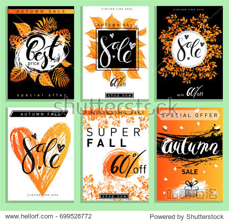 Set of Autumn sale calligraphy banners. Vector flat illustration with black and orange colors. Use for mobile website banner  flyer template  poster  online shopping  ads  social media banners.