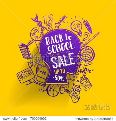 Back to school Sale concept with typography on sketch graphics. Vector illustartion. Kids face contour with doodle icons education supplies. Creative Idea of education for banners  posters