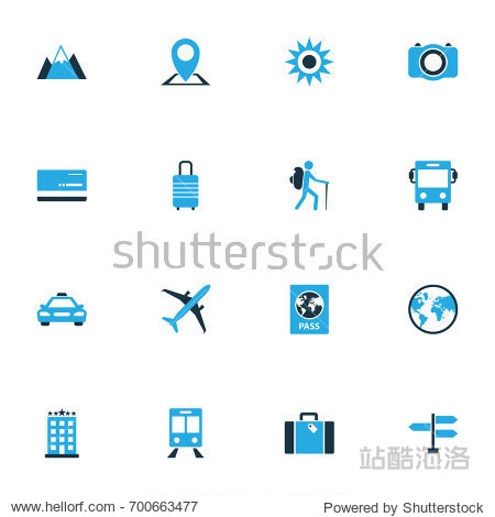 Traveling Colorful Icons Set. Collection Of Hotel  Signpost  Bank Card And Other Elements. Also Includes Symbols Such As Traveler  Location  Passport.
