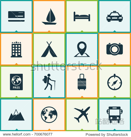 Exploration Icons Set. Collection Of Car  Booth  Planet And Other Elements. Also Includes Symbols Such As Direction  Visa  Taxi.