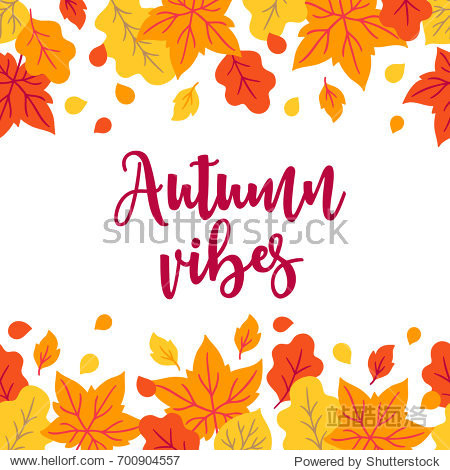 Autumn greeting card with oak and maple leaves on white background. Floral border. Perfect for holiday invitations