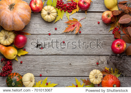 Autumn background with yellow maple leaves  red apples and pumpkins. Frame of fall harvest on aged wood with copy space. Mockup for seasonal offers and holiday post card  top view