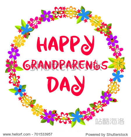 Happy Grandparents Day. Card with congratulation in decorative frame with colorful flowers  leaves and ladybirds isolated on white background. Vector illustration