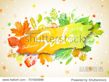 Autumn season sale banner. Concept autumn advertising with hand drawn watercolor fall leaves. Modern design promo poster with watercolor colorful foliage of yellow  orange and green color