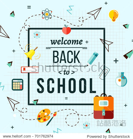 Back to school poster with school supplies set  vector illustration