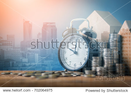 business mortgage,financial ideas concept double exposure with coins stack isolate background with free copyspace for your creativity ideas text