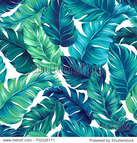 turquoise and green tropical leaves. Seamless graphic design with amazing palms. Fashion  interior  wrapping  packaging suitable. Realistic palm leaves.
