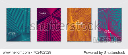 Cyan blue, pink magenta and yellow halftone covers vector template with lines. Vector journal design geometric shape background set, halftone lines hipster pattern abstract covers collection.
