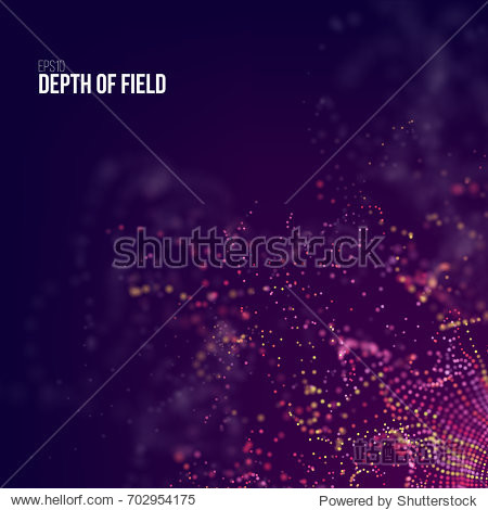 Abstract science background. Futuristic technology 3d vector backdrop with particles glitch flow