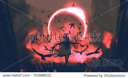 wizard of crows casting a spell in the mysterious field with solar eclipse  digital art style  illustration painting