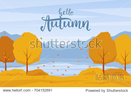 Vector illustration: Autumn landscape with mountains lake  trees and fall  leaves