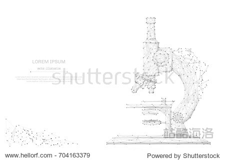 Abstract mash line and point microscope on background with an inscription. Starry sky or space  consisting of stars and the universe. Vector education and science illustration