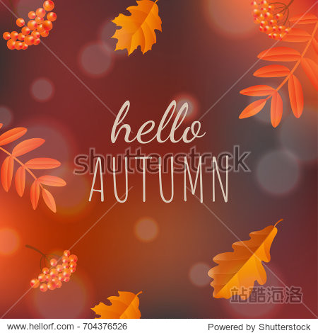 Hello Autumn Poster  Vector Illustration  With Gradient Mesh