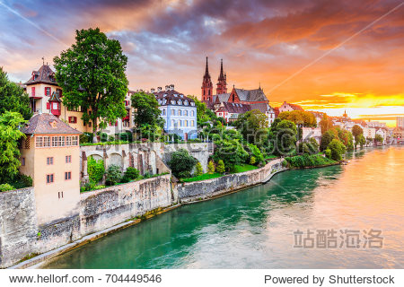 Basel  Switzerland. Old town with red stone Munster cathedral on the Rhine river.