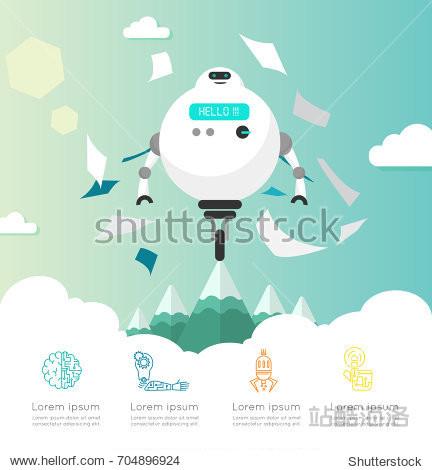 Intelligent AI robot illustration flat design