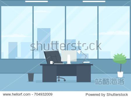 Empty modern office interior. Vector illustration