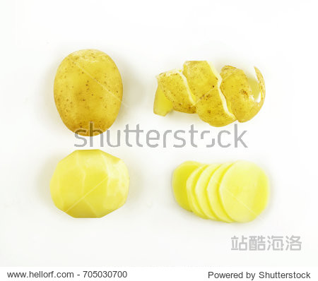 Set of potatoes Isolated on white background. Potatoes food concept. Creative layout vegetables abstract background.