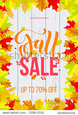 Autumn fall sale text poster template for September shopping promo or 70 percent autumnal shop discount. Vector maple and oak acorn leaf foliage background for fall sale discount web banner design