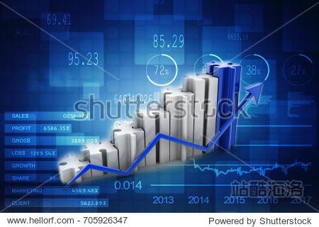 3d illustration puzzle success financial bar chart graph