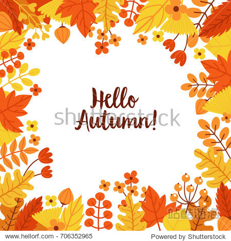 Autumn frame of leaves and berries. Template for postcards  letters  notepad.