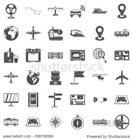 Technology icons set. Simple style of 36 technology vector icons for web isolated on white background