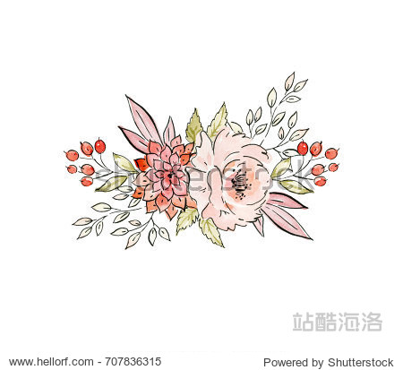 Watercolor and ink illustration. Painted autumn composition of flowers. Element for design
