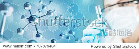 chemist holding a test-tube in molecular background, 3d illustration