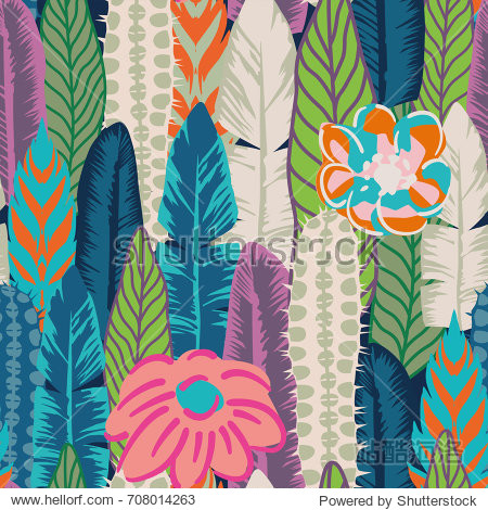 Vector seamless print of leaves  cactus and flowers abstract color. Flat wallpaper pattern background