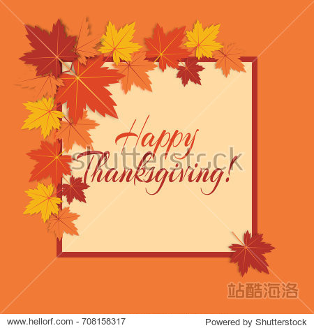 """Vector background for Thanksgiving Day with colorful autumn leaves and text """"Happy Thanksgiving!""""."""