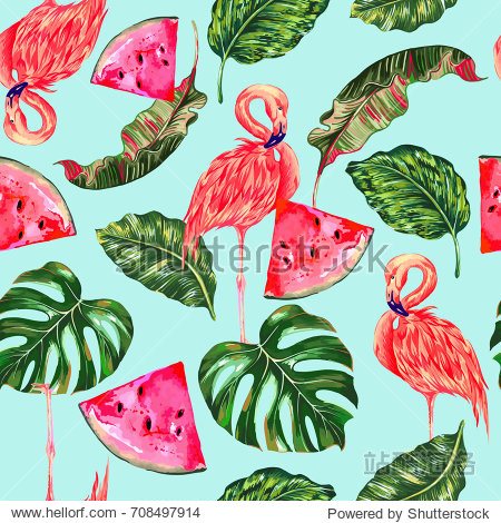 Tropical vector illustration with pink flamingos  exotic birds  watermelons  jungle leaves  monstera leaf seamless floral pattern. Summer natural background