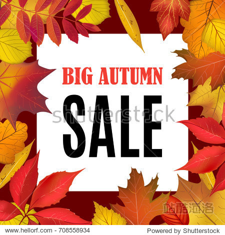 Big Autumn Sale banner template with fall leaves border frame. Shop market poster for your autumn background. Vector illustration.