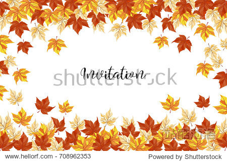 an illustration with bright autumn leaves and a sample text; generic fall background  perfect for sale banners  discount flyers  also wedding invitation or save the date template  season greeting card