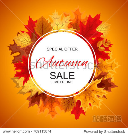 Abstract  Illustration Autumn Sale Background with Falling Autumn Leaves.