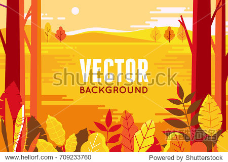 Vector illustration in flat linear style - autumn background - landscape illustration with plants  trees and copy space for text - for autumn banners