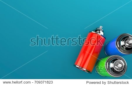 Spray cans on blue background. 3d illustration