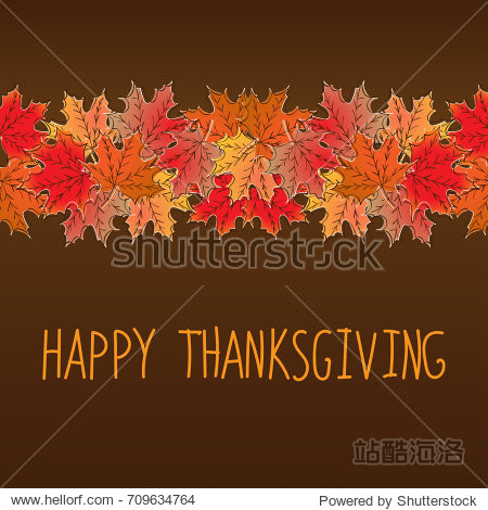 Happy Thanksgiving card template with red  yellow  orange maple leaves. Autumn motif