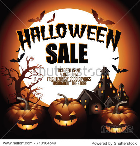 Halloween sale background with pumpkins  haunted house and copy space. EPS 10 vector.