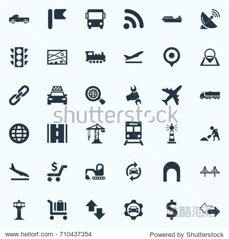Vector Illustration Set Of Simple City Icons. Elements International  Road  Air Traffic Safety And Other Synonyms Worldwide  Chain And Road.