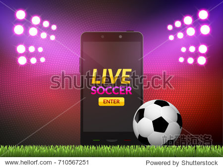Mobile football soccer. Mobile sport play match. Online soccer game with live mobile app