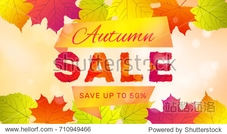 Autumn sale banner with colorful leaves on sunny background.