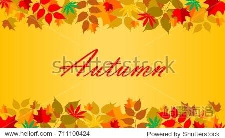 Illustration of Autumn leaves frame background. Written text Autumn