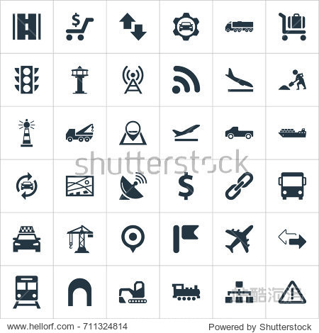 Vector Illustration Set Of Simple Transportation Icons. Elements Aviation  Cargo Shipping  Subway And Other Synonyms Bulldozer  Algorithm And Economy.