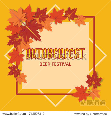 Oktoberfest Beer Festival Poster with text and leaves of maple. Vector illustration.