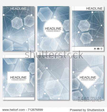 Scientific brochure design template. Vector flyer layout  Molecular structure with connected lines and dots. Scientific pattern atom DNA with elements for magazine  leaflet  cover  poster design.