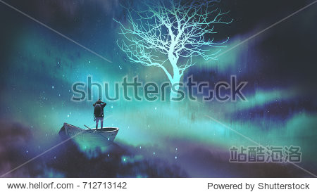 man on a boat in the outer space with clouds looking at glowing tree with stars  digital art style  illustration painting