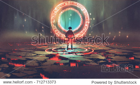 man standing in front of magic circle with red  light  digital art style  illustration painting